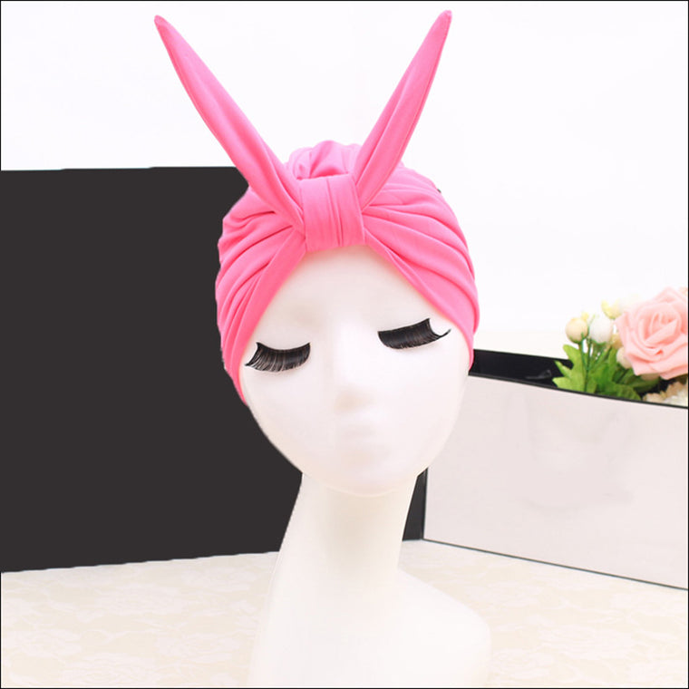 Swim Pool Rabbit Swimming Cap Hat Free size for Women Fashional Bathing Cap  Long Hairs Ear Protection Large