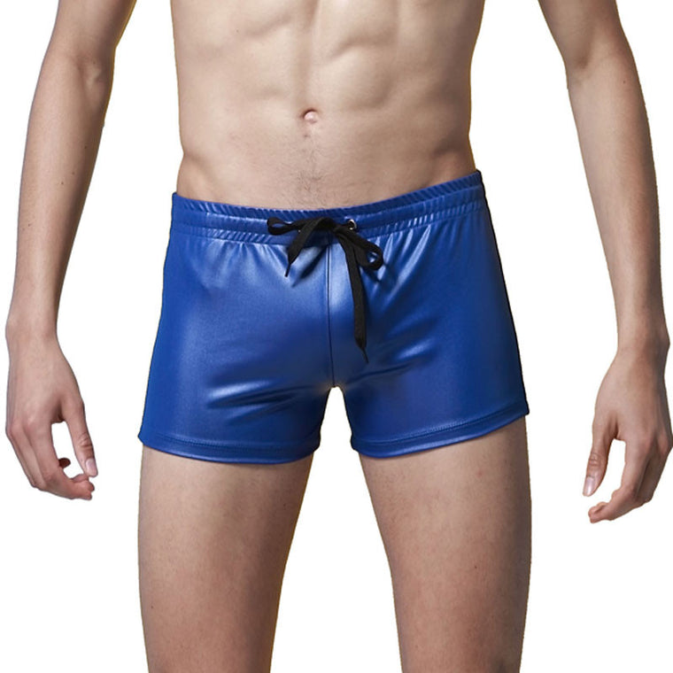 Men Swimsuits Sexy Men Swimming Trunks Boxer Shorts Patent Leather Beach Surf Board Shorts Trunks Brand Swim Suits Swim Shorts