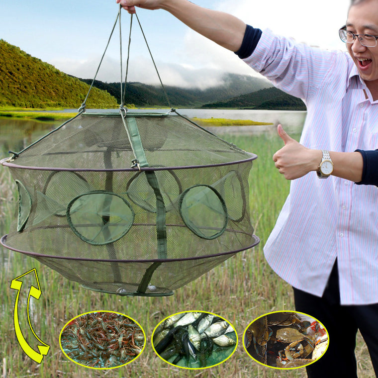 Folding Rede Fishing Net Crawfish Mesh Fishing Network Casting Shrimp Cast Dip Mesh Fish Net Minnow Lobster Crab Fish Trap Cages