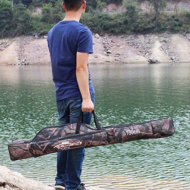 Sougayilang Waterproof Cloth Fishing Rod Bag 130cm 2-Layer Folding Bag Seawater Saltwater Freshwater Rod Fishing Bag De Pesca