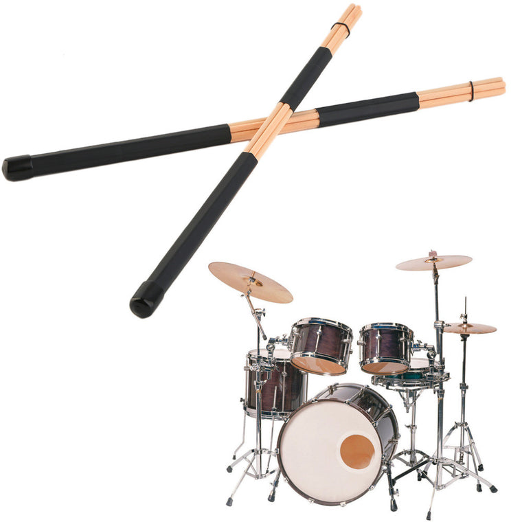 1 Pair 40cm Wooden Hot Rods Rute Jazz Drum Sticks Brushes Drumsticks Light Weight Portable Easy to Hold