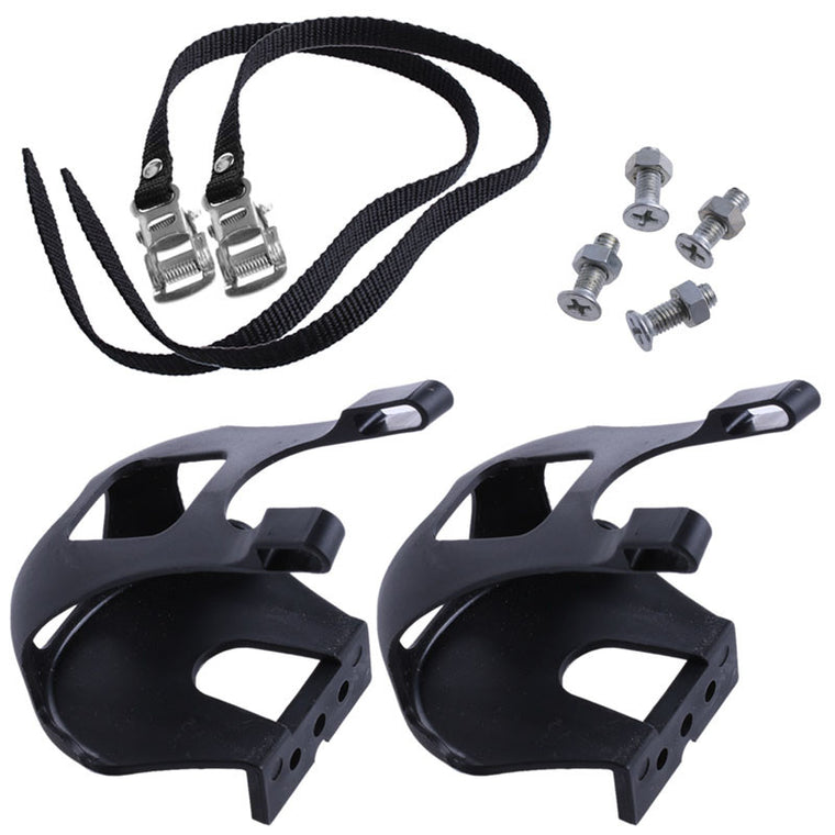Cycling Road Bike Mountain Bike Black Toe Clips With Straps for Bicycle Pedal