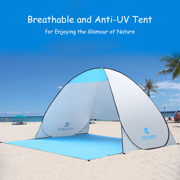 1Set Full Automatic Tent Beach Tent Festival Shelter Instant Pop-up Sun Screen Fishing Garden Quick Open Tent (120+60)*150*100cm