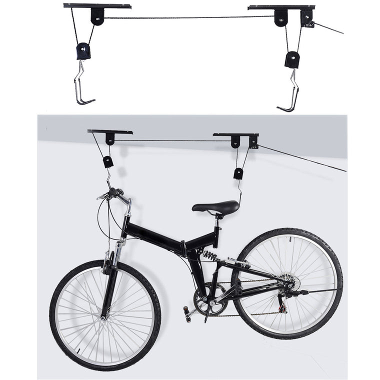 Bike Bicycle Lift Ceiling Mounted Hoist Storage Garage Hanger Pulley Rack Bikes Metal Parking Racks
