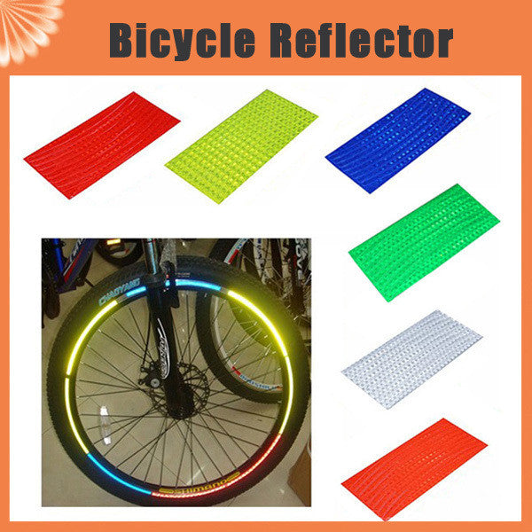 8pcs/pack Reflective Stickers Motorcycle Bicycle Reflector Bike Cycling Security Wheel Rim Decal Tape Safer