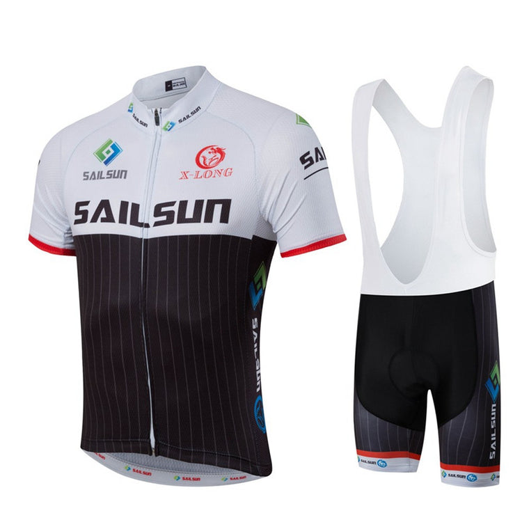 HOT SAIL SUN Men MTB Cycling Clothing bike Jersey Top or Bike Bib Shorts Black White Male Sports Pro team ropa Bicycle wear Top