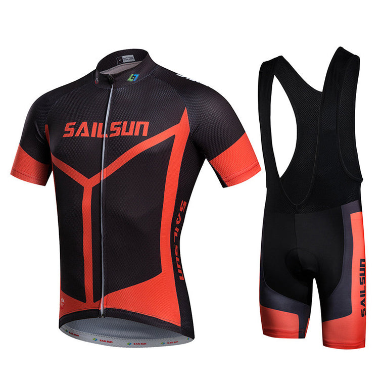 HOT SAIL SUN Red Men bike Jersey or Cycling Bib Shorts Pro MTB Clothing Black Summer Male team ropa  Bicycle Top wear Quick Dry
