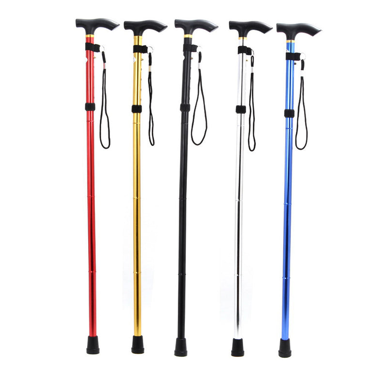 Outdoor Hiking Foldable Walking Trekking Hiking Stick Cane Crutch Alpenstock 4 Joints Adjustable Length Color Random Delivery