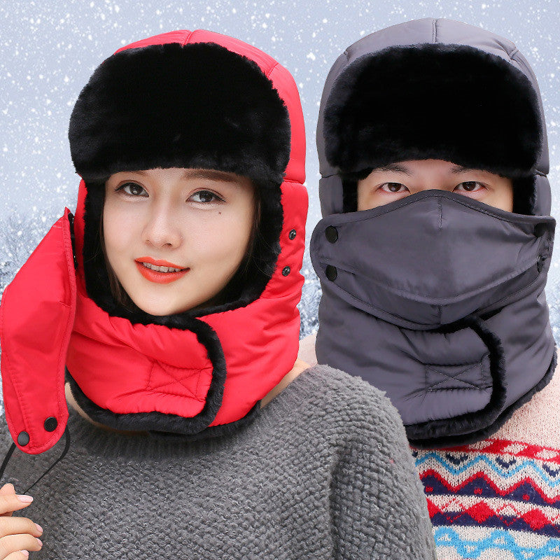Winter Outdoor Thermal Fleece Skiing Hats Hood Men Women Windproof Face Mask Neck Warmer Helmet Caps For Hiking Riding Climbing