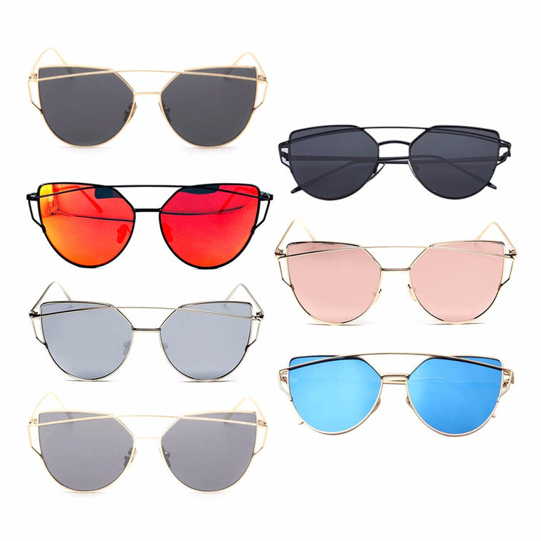 Reflective Lenses Ladies Sunglasses Metal Frame 14.3x14x5.2cm Outdoor Hiking Climbing Eyewear For Star Style Top