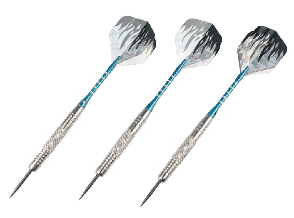 1 set of 3 Steel Tip Darts Nickelplated Brass Darts 22g with Grooved Aluminium Alu Dart Shafts and 2D Dart Flights NEW