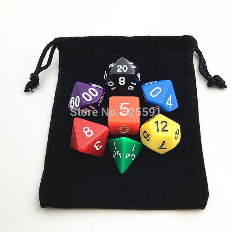 Hot Colorful Acrylic Dice Set with Black dice Bag D4,D6,D8,D10,D10%,D12,D20 7 differents Color dragons and dungeons dnd
