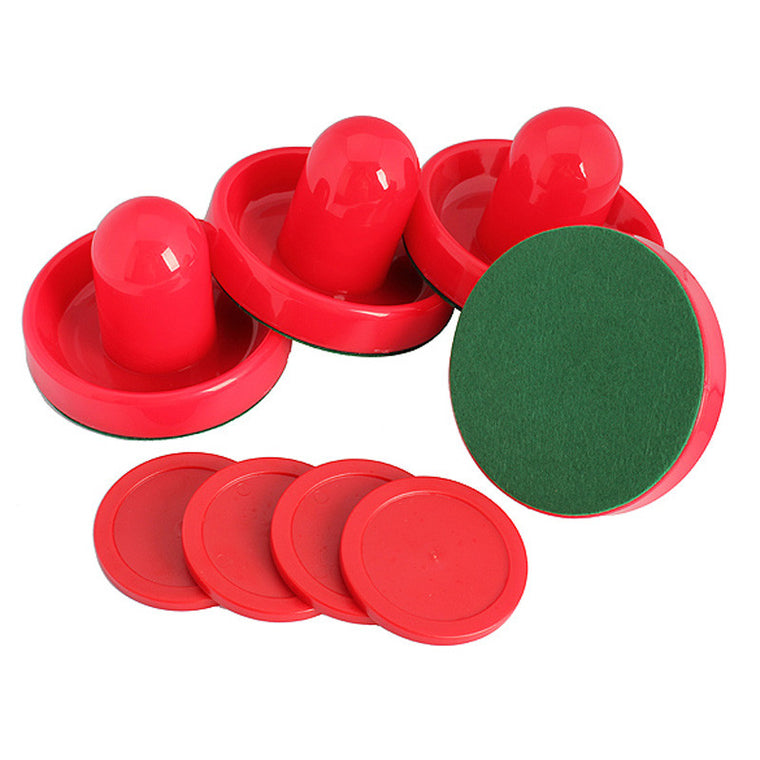 Brand New Set of 4 Air Hockey Pushers and 4 Air Hockey Pucks Red Great Plastic Air Hockey Set EA14