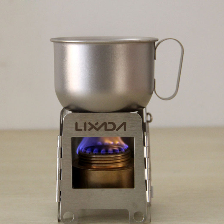 Lixada Portable Stainless Steel Wood Stove + Backup Alcohol Burner Pocket Stove Outdoor Camping Cooking Picnic Backpacking Stove
