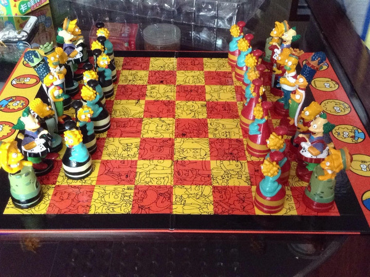 Colorful Simpson high quality chess set for kids best Birthday gift