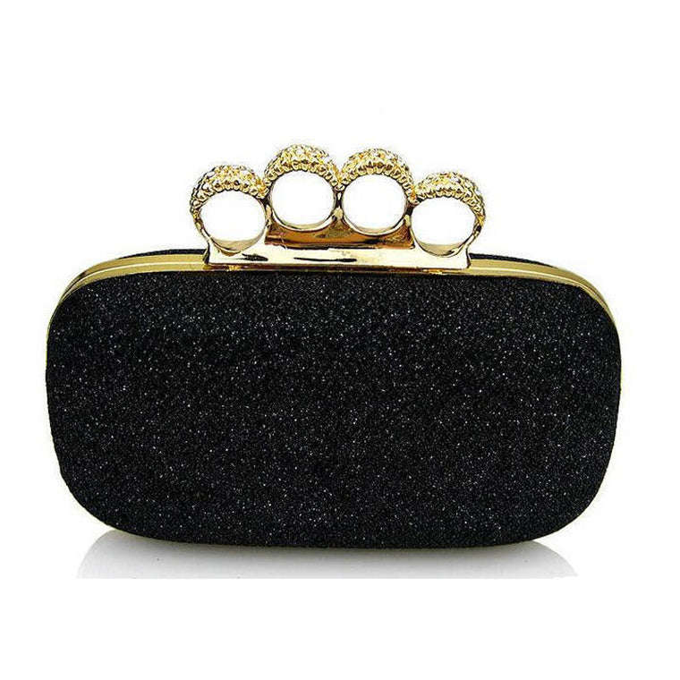 Luxury Woman Evening Bag Shinny Glitter Ring Clutch Wedding Party Purse Banquet Shoulder Hand Bag Small Clip bolso Gold XA231H