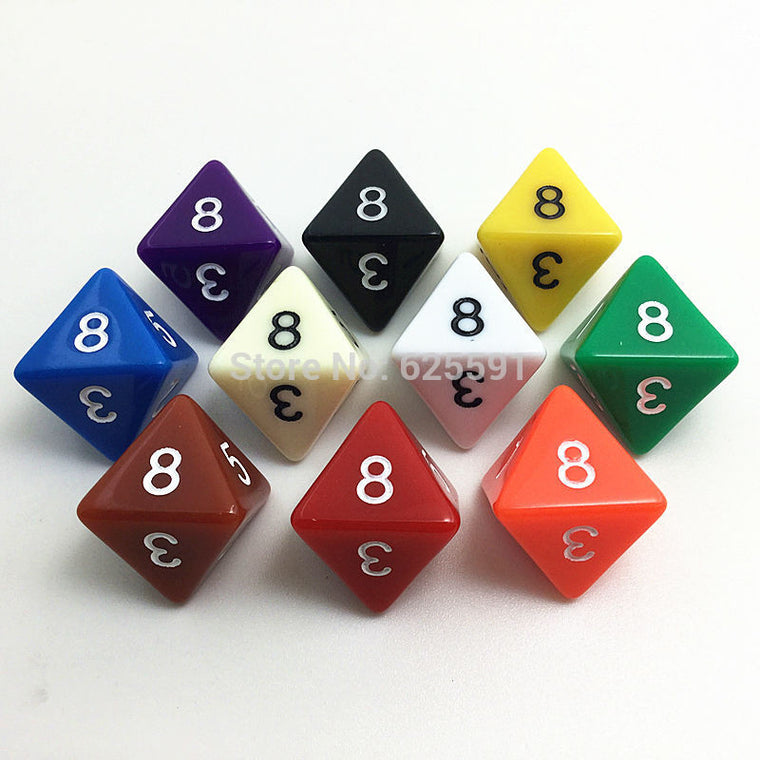 10pcs/set T&G High Quality Colorful D8 Dice Set Opaque effect,Dungeons and dragons 8 side Digital Dice number 1-8 for Rpg Game