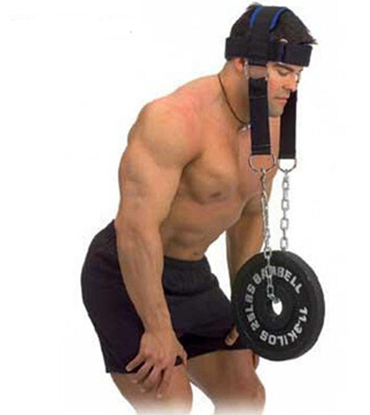 head neck power strength muscles training headgear cap equipment with chains and hanging barbell