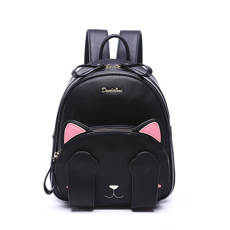 Women Leather Backpack Cat Girl School Backpacks Ear Black Cute High Quality Pu Travel Back Pack Brand Sac A Dos Femme Freeship