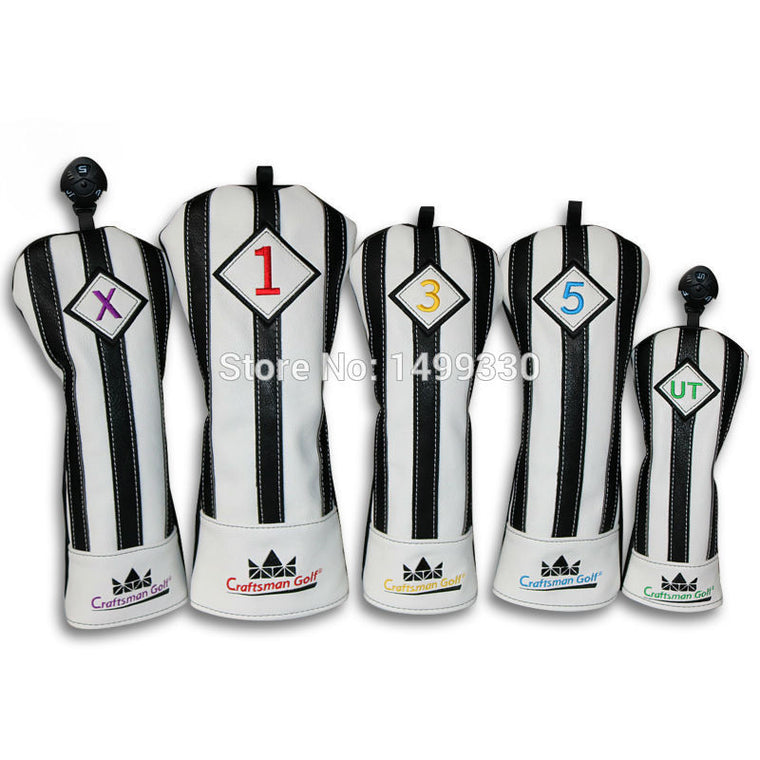 Craftsman Black/White Juventus Golf Wood Head Covers Headcover Driver FW UT Utility Headcovers Free Shipping