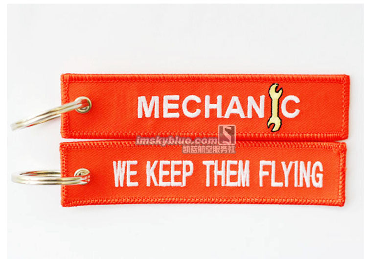 "MECHANIC Key Chain Orange Embroider "" We Keep Them Flying"" Metal Plane Best Gift for Flight Crew Aviation Lover Workers"