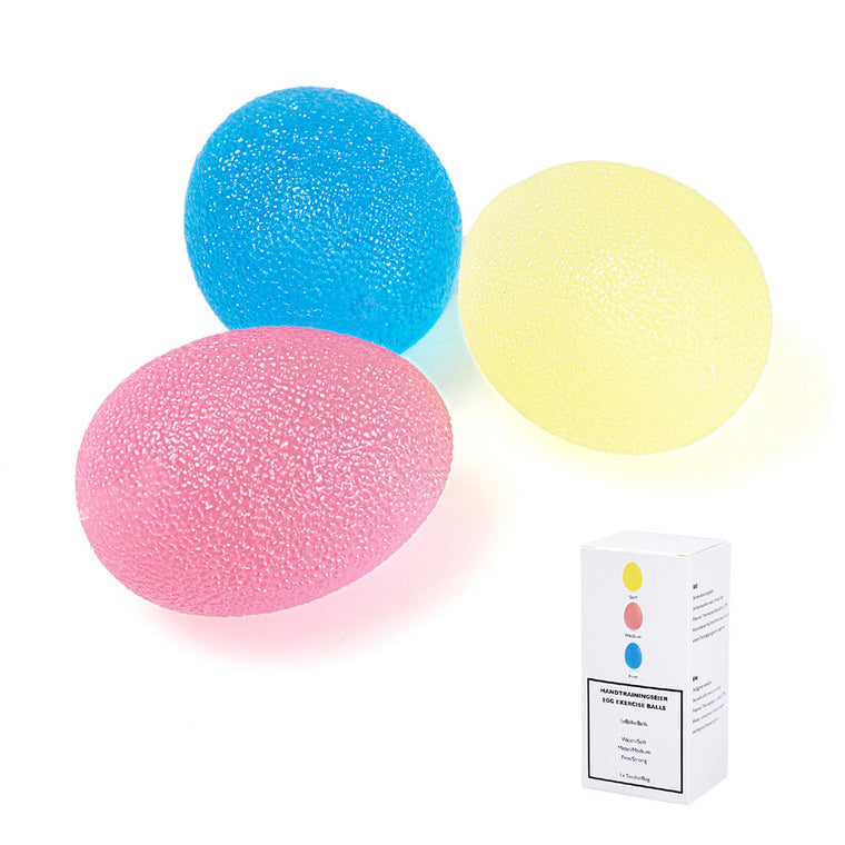 Grip Strengthening Therapy Stress Balls, 3 Colors Resistance Squeeze Eggs,Home Exercise Kits Hand Exercise Balls,Power Ball