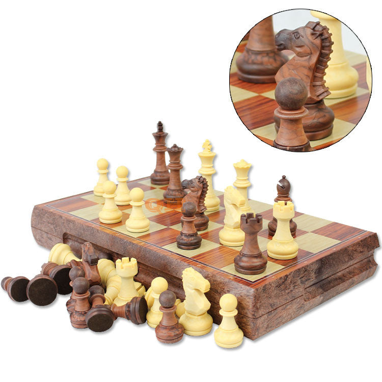 New International Chess Checkers Folding Magnetic High-grade wood WPC grain Board Chess Game English version with 72mm King High