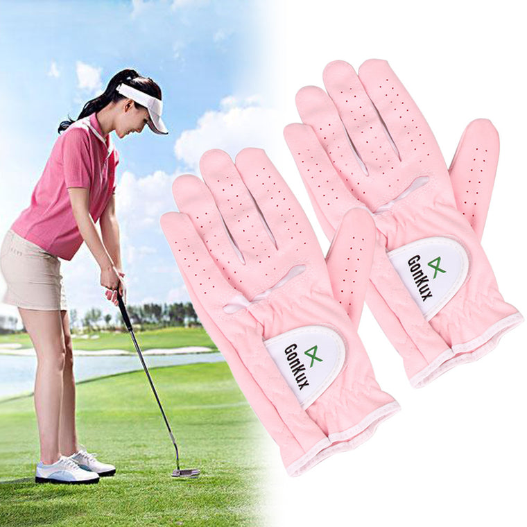 1 Pair Women Golf Glove Breathable Sport Glove Left and Right  Hand with Super Fine Cloth Soft Washable Outdoor Glove