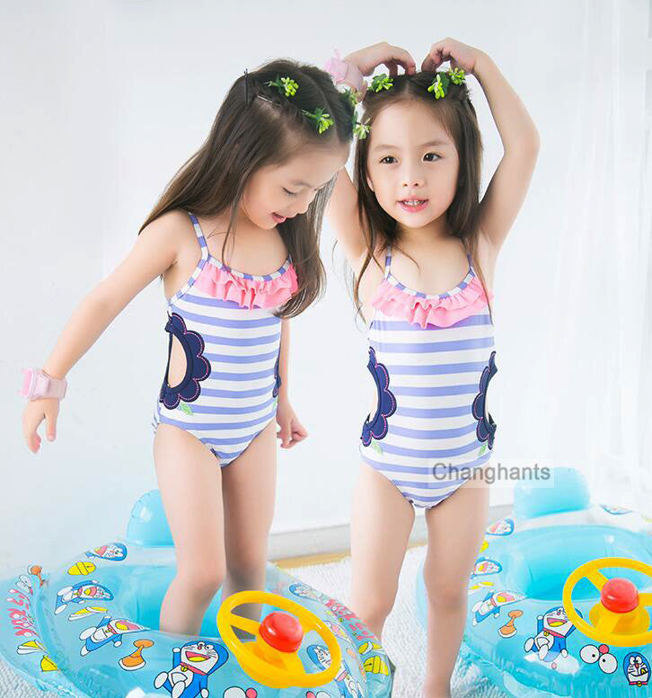 cute baby girl swimwear one piece blue striped with hollowing style 1-14Y girls swimsuit kid/children swimming Suit sw0607 UPF