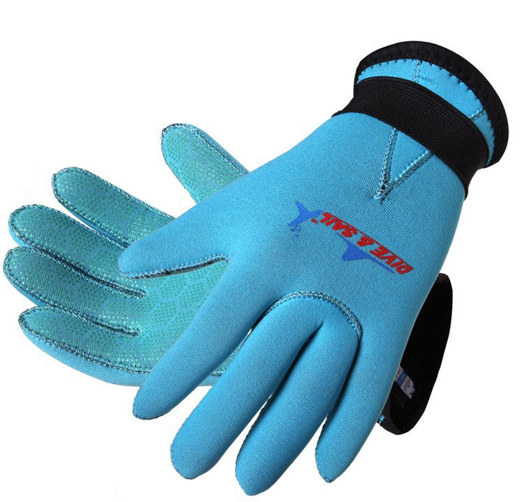 Blue Pink Ocean 3mm neoprene diving gloves palm protection of children boys and girls