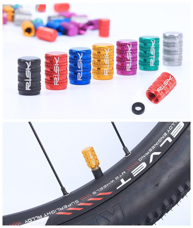 10 Pcs Bicycle American Valve Cap with Washer MTB Bike Wheel Tire Covered 7Colors Waterproof Protector Bike Schrader Valve Cap