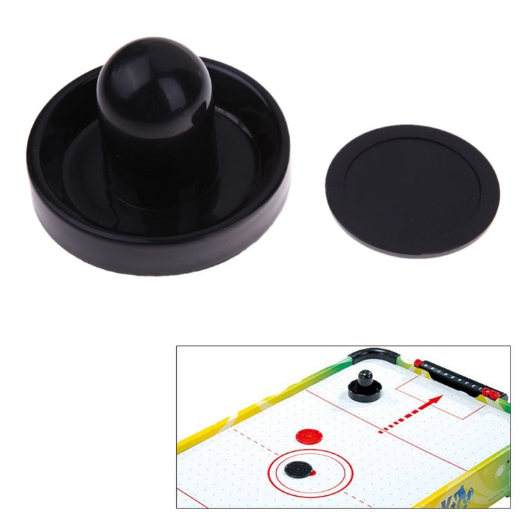 New 96mm Air Hockey Table Felt Pusher Mallet Goalies with 1pc 63mm Puck Black EA14