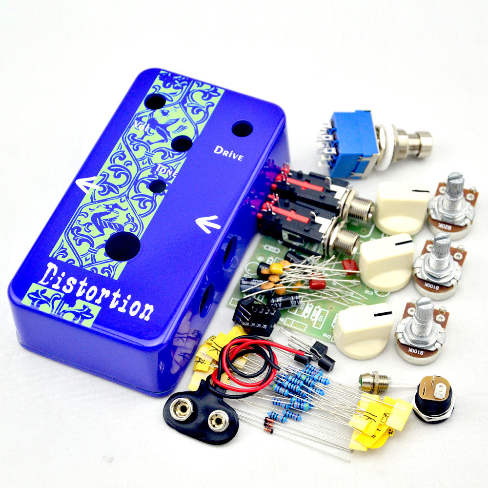 NEW DIY Guitar Distortion Pedal kit deep Blue Distortion Electric Guitar Effect Pedal True Bypass +  High-quality 1590B case