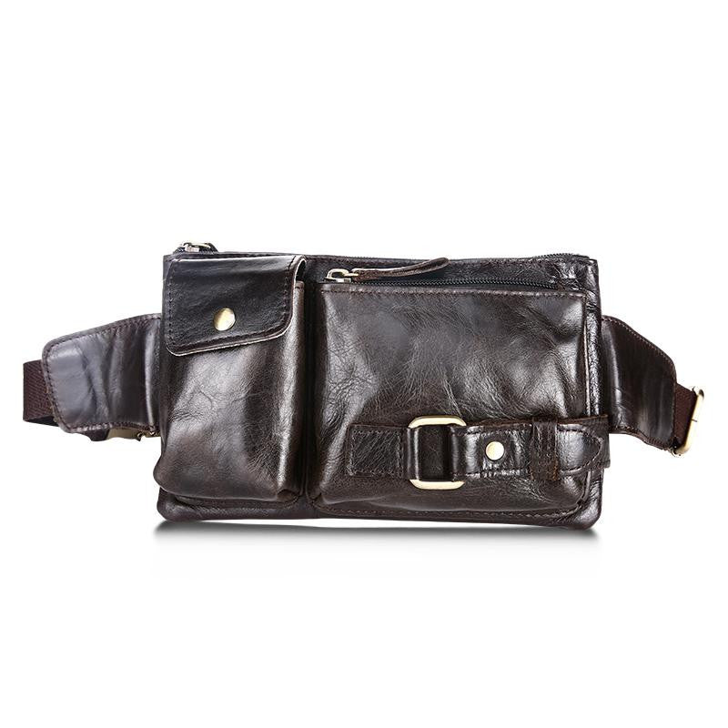 Vintage Genuine Leather Bags Waist Packs For Men Belt Waist Bags For Men Casual Fashion Brand messenger Bag  LI-1419