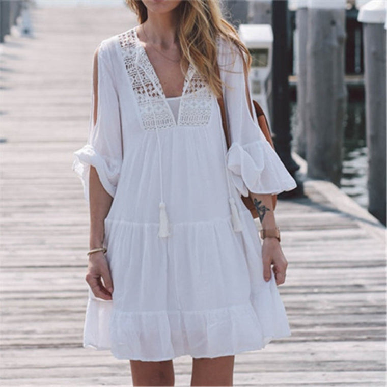 New Arrivals Pareo Beach Outings Dress Sexy Swimsuit Cover up White Rayon Swimwear Ladies Robe de Plage Saida de Praia #Q116