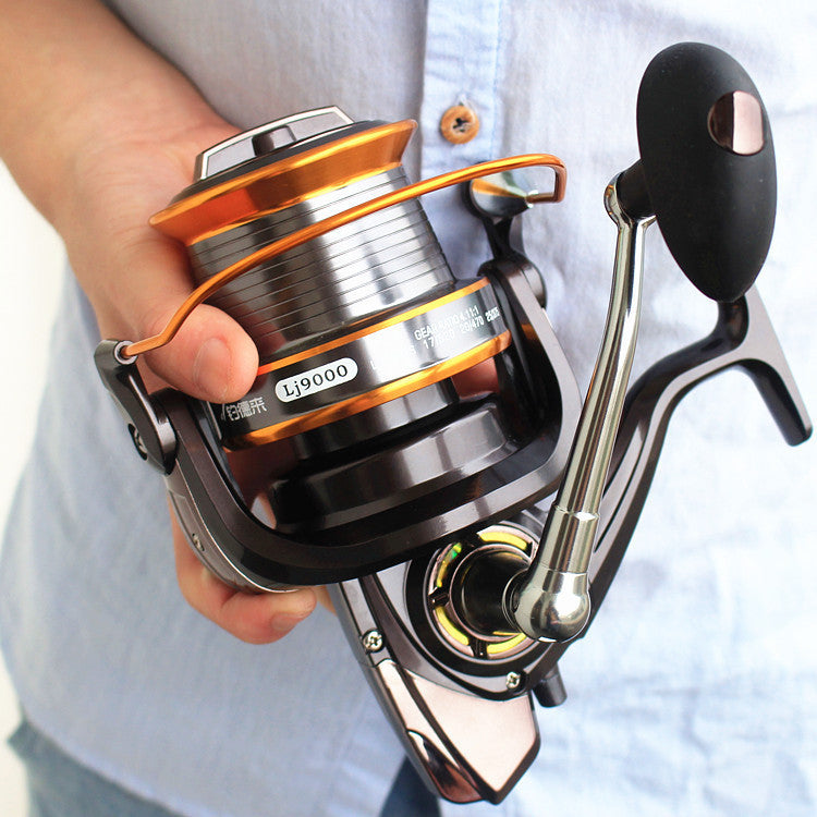 9000 full metal wire cup wheel cast fishing reel by sea rod fishing ship wheel gear wholesale