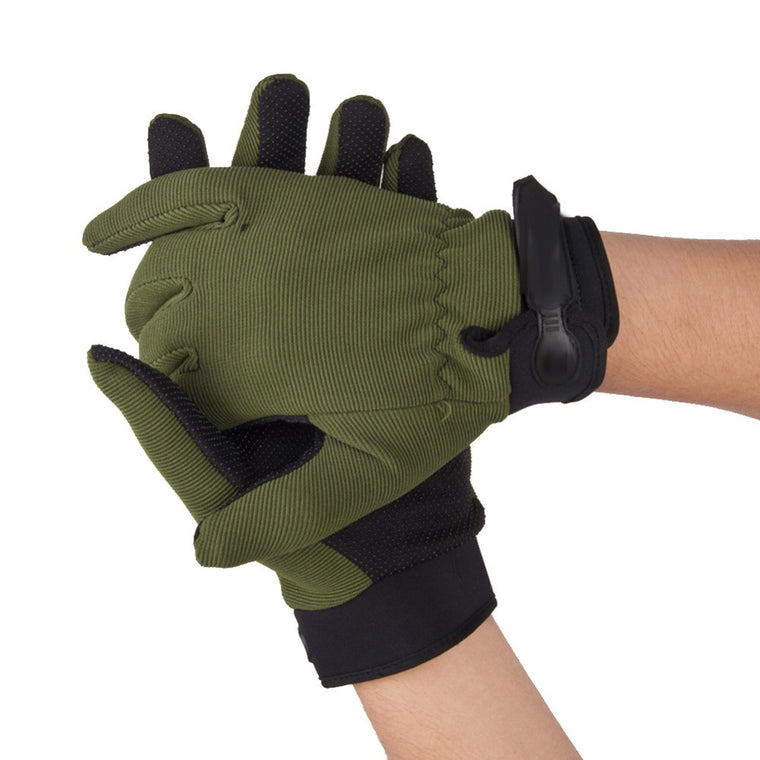 Hot Sale 3 Sizes Outdoor Antiskid Cycling Gloves Tactical Airsoft Riding Cycling Hunting Full Finger Gloves Army Green