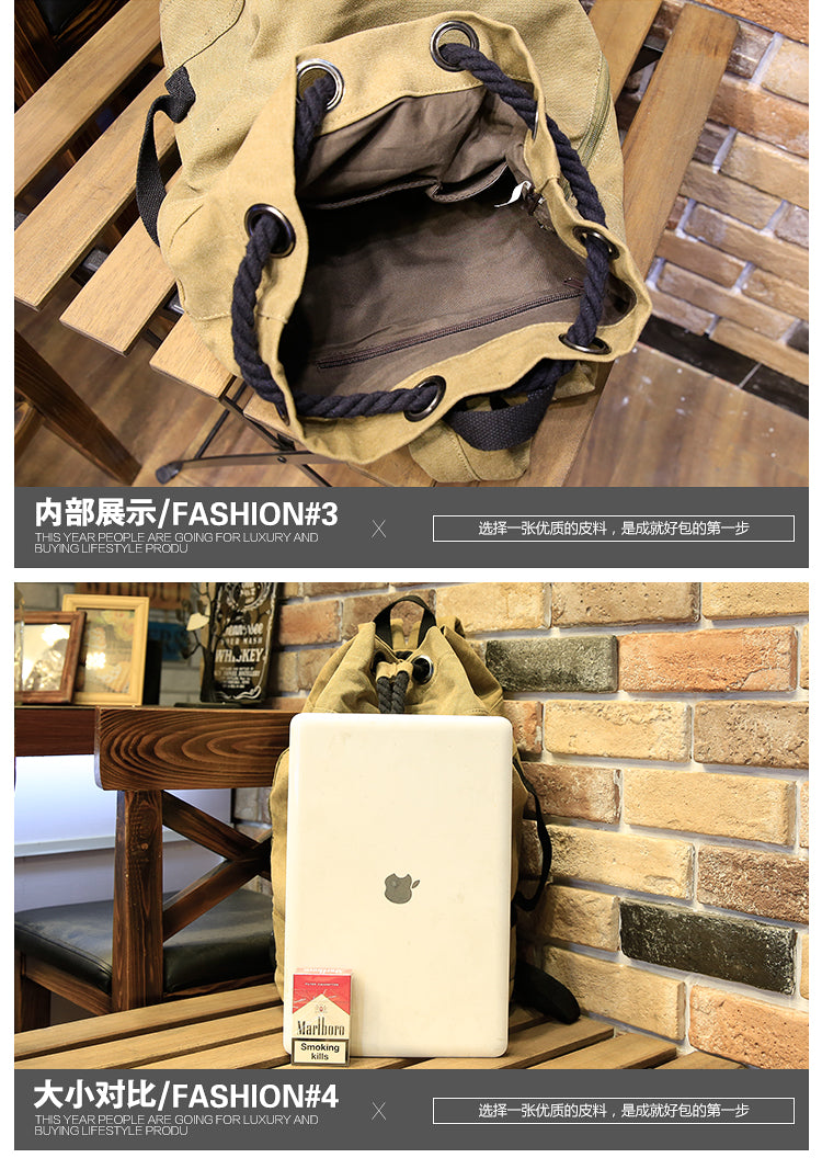 New Men's Backpack Large Capacity Men Drawstring Backpack Canvas Bucket Bag Unisex Fashionable Concise School Bag Male Schoolbag