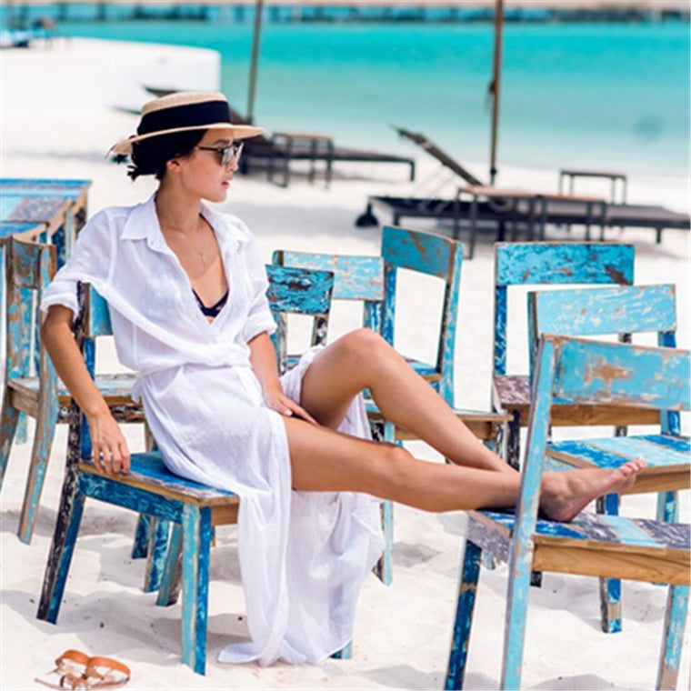 New Arrivals Beach Cover up Solid Chiffon Swimwear Ladies Walk on The Beach Sexy Beach Cover up Saida de Praia Beach Wear #Q80