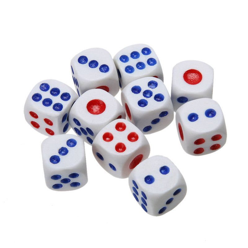 10PCS 10mm White Gaming Dice Standard Six Sided Decider Die RPG For Birthday Parties Toy Bauble Game Gaming Dice Games