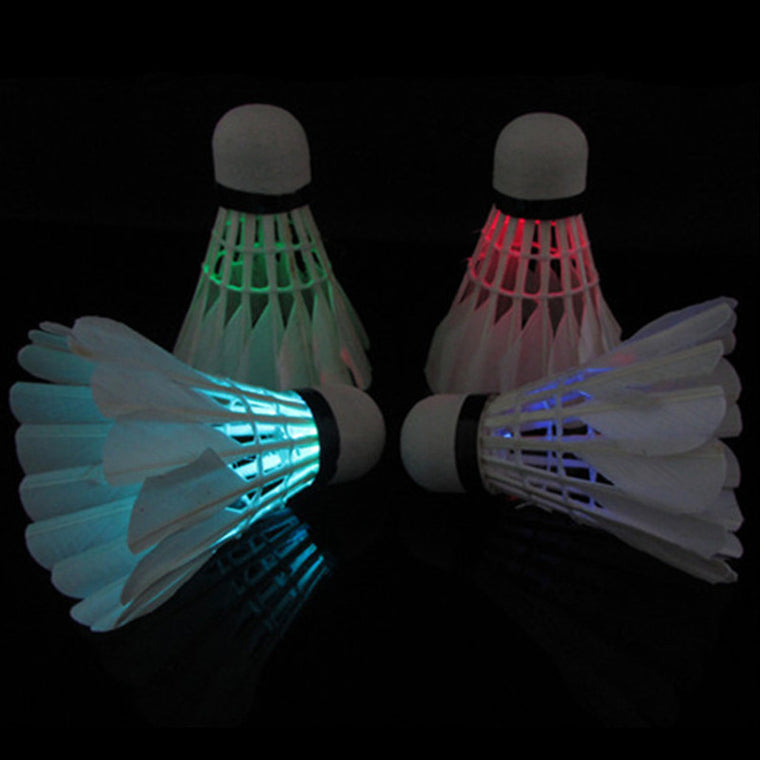 4PCS Colorful LED  Badminton Shuttlecock Dark Night Glow Birdies Lighting Badminton Ball Indoor Sports Flash Colors