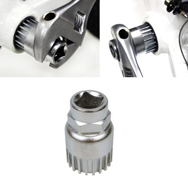 New Cycle Cycling Mountain Bicycle Sealed Bottom Bracket Spindle Remover Repair Silver Steel Tool Sports Free shipping