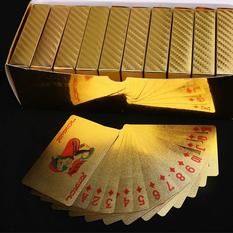 NEW 24K Waterproof High Grade Gold Foil Plated Game Poker Golden Grid Pattern Playing Cards For Table Games Entertainment Gift