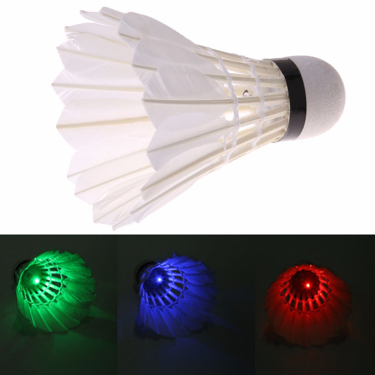 Hot 4 Pcs/lot  Dark Night Colorful LED Badminton Goose Feather Shuttlecock Shuttlecocks Outdoor Sports badminton Ball Freeship