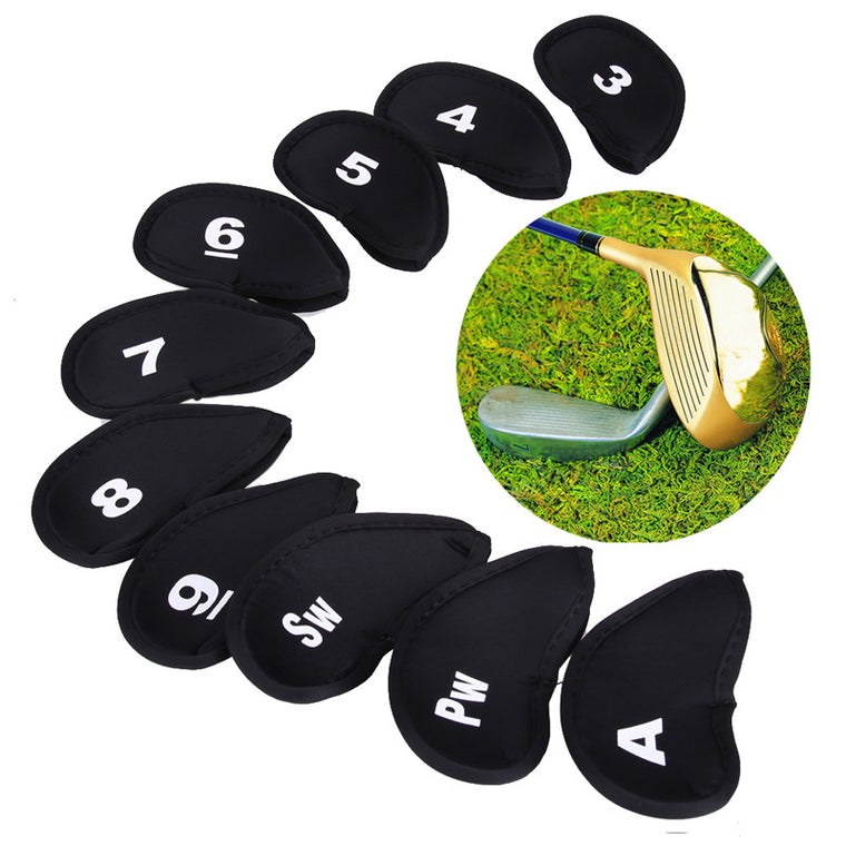 10pcs Golf Head Cover Club Iron Putter Head Protector Set Neoprene Black Outdoor Golf Accessories