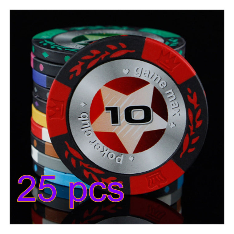 25pcs/set Pocker Chip Clay Composite Striped Crown and Wheat Pattern Dice Poker Chip Board Game Set Game Max Poker Club 10$