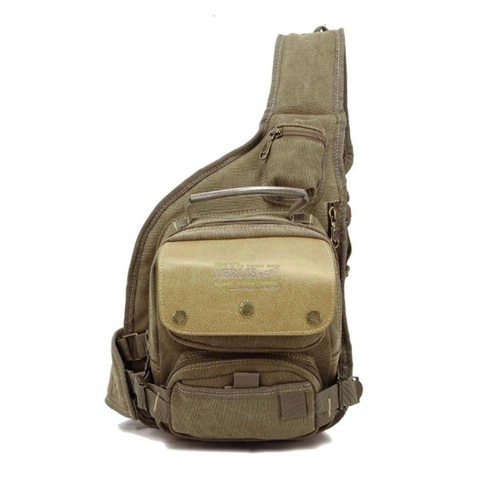 Men Canvas Military Travel Riding Motorcycle Cross Body Messenger Shoulder Back pack Sling Chest Bag