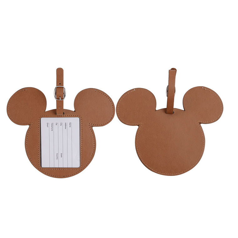 PU Leather Luggage Tags Brown Color Bag Tags Travel Accessories Suitcase Tags With Name Card Customized Shape High Quality