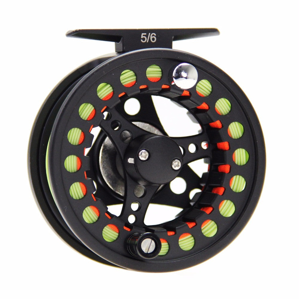 5/6/7/8WT Black Fly Reel and Line Combo Large Arbor Aluminum Fly Fishing Reel with WF Fly Line Backing Line Tapered Leader