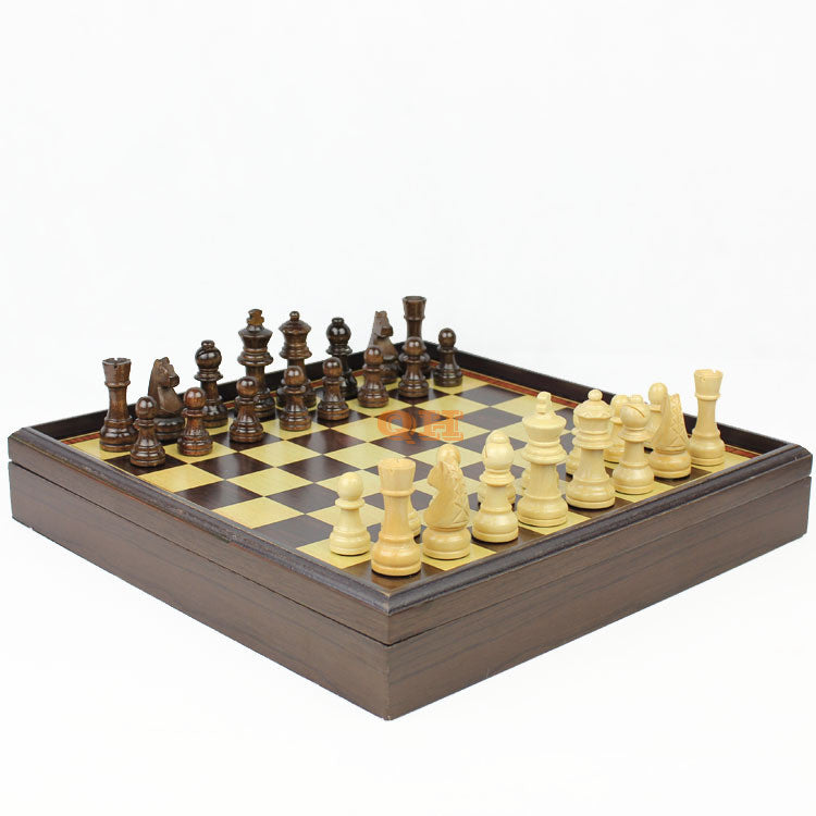 High quality Hot sale red dragon phoenix leather box wooden table Wooden chess 1 set